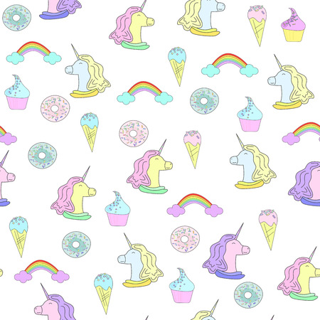 Illustration with unicorn, donuts and cakes. Ice-cream and rainbow. Seamless pattern in flat style on white background