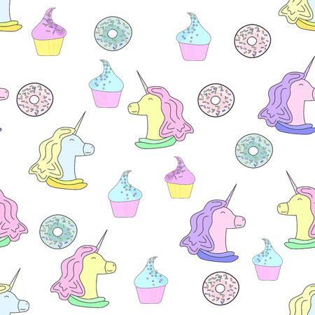 Illustration with unicorn, donuts and cakes. Ice-cream. Seamless pattern in flat style on white background