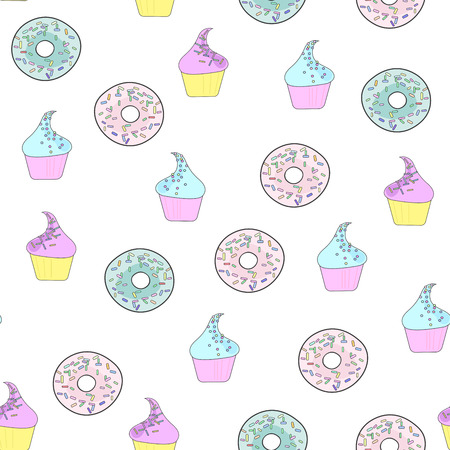 Illustration with donuts and cakes. Sweet dessert. Seamless pattern in flat style on white background Çizim