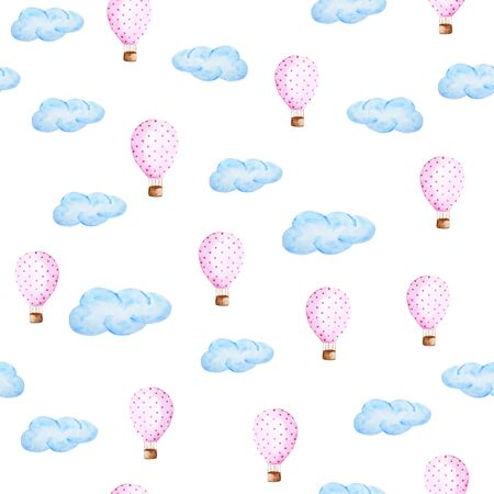 Watercolor air balloon and clouds pattern. Hand drawn balloons with polka dot pattern.