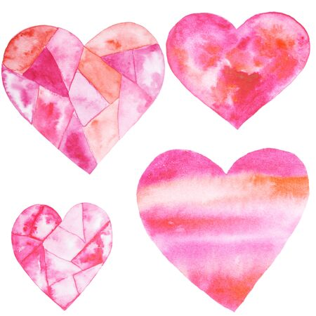 Watercolor hand painted set with hearts. Aquarelle romantic hand made background for fabric print