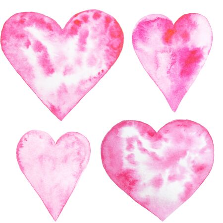 Watercolor hand painted set with hearts. Aquarelle romantic hand made background for fabric print Stok Fotoğraf - 131792944