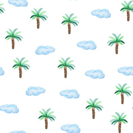 Watercolor seamless pattern with palms trees and blue clouds. Beach style hand drawn pattern.