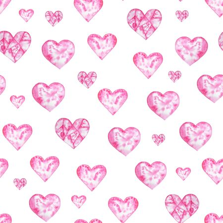 Watercolor hand painted seamless pattern with hearts. Aquarelle romantic hand made background for fabric print Stok Fotoğraf - 133330311