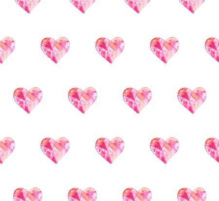 Watercolor hand painted seamless pattern with hearts. Aquarelle romantic hand made background for fabric print Stok Fotoğraf