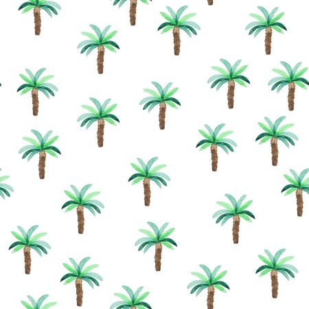 Waterclolr seamless pattern with palms trees. Beach style hand drawn pattern. Stok Fotoğraf