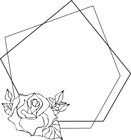 Wild rose frame, flowers drawing and sketch with line-art on white backgrounds. silhouette