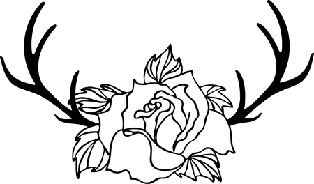 Wild rose and antler deer, flowers drawing and sketch with line-art on white backgrounds. Çizim