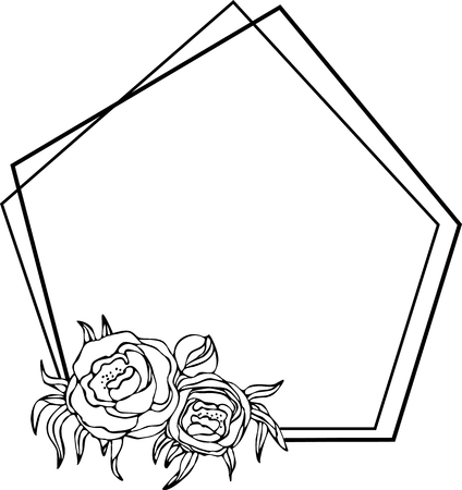 Peony frame, flowers drawing and sketch with line-art on white backgrounds. Silhouette