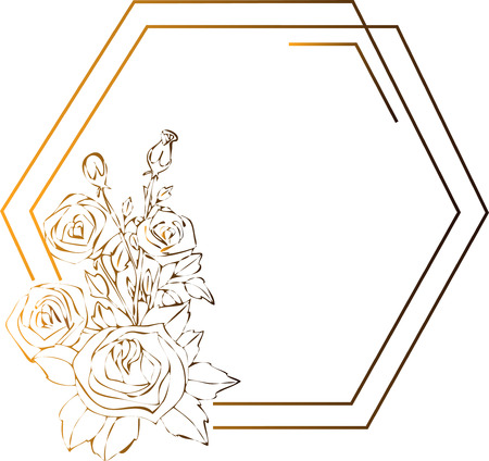 Gold roses flowers drawing and sketch with line-art on white backgrounds. Silhouette Çizim