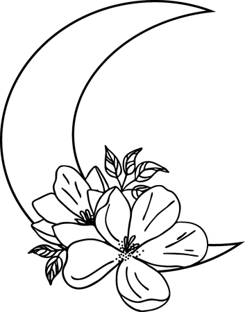 Illustration of blooming flowers and moon. Black and white silhouette