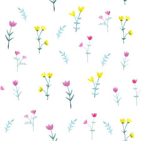 Watercolor seamless pattern with bright flowers and leaves. Floral background Stok Fotoğraf