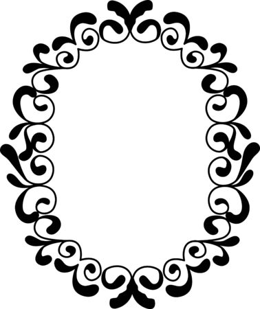 Vector vintage border frame engraving with retro ornament Çizim