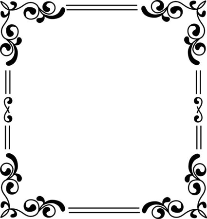 Vector vintage border frame engraving with retro ornament