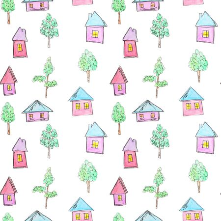 Pattern of bright houses and trees for a childish design, watercolor, sketch style