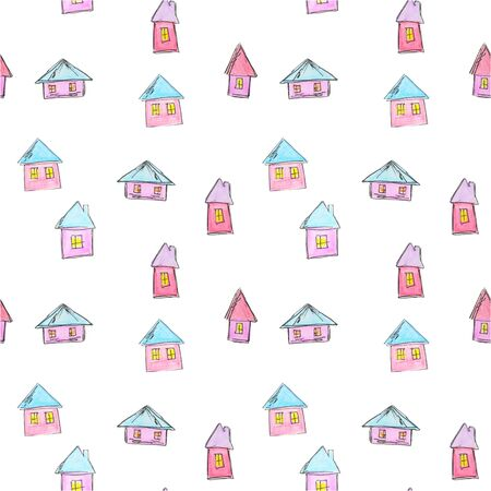 Pattern of bright houses for a childish design, watercolor, sketch style