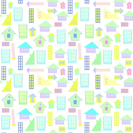 Scandinavian pattern of bright houses for a childish design, Stok Fotoğraf - 133330320