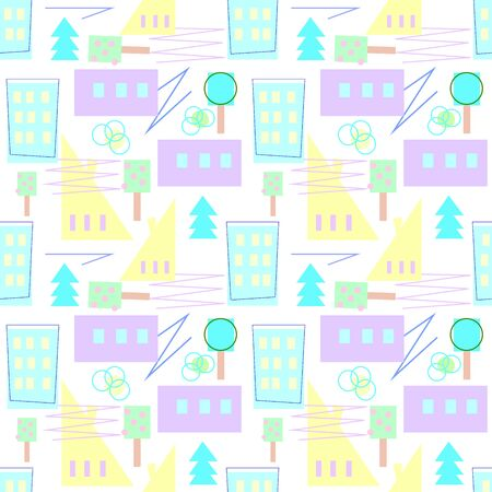 Scandinavian pattern of bright houses and trees for a childish design, Çizim