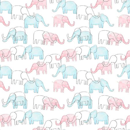 Watercolor pink, blue elephant pattern for kids design. Sketch style Foto de archivo - 133330322