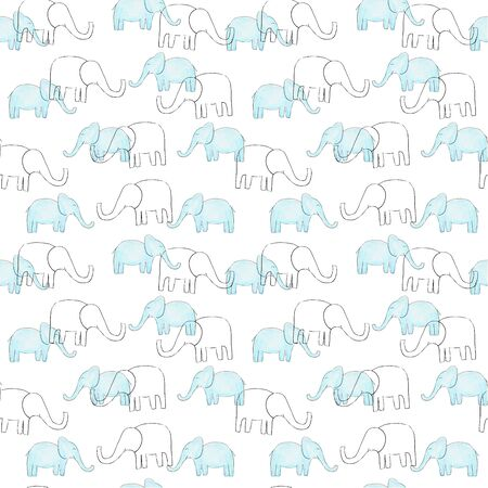 Watercolor seamless elephant pattern for kids design. Sketch style