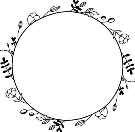 Floral wreath, Monogram flowers frame for wedding invitation, birthday card