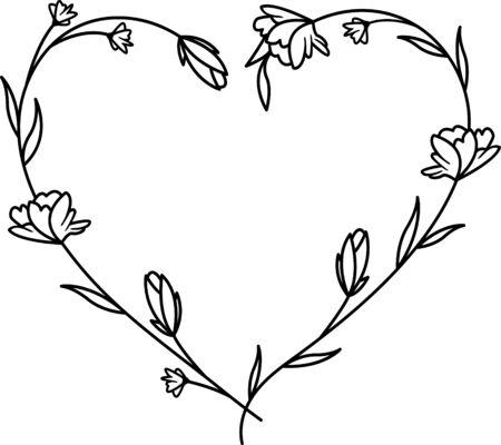 Floral wreath, Flowers heart frame for wedding invitation, birthday card Çizim