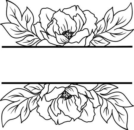 Floral border, Monogram flowers frame for wedding invitation, birthday card