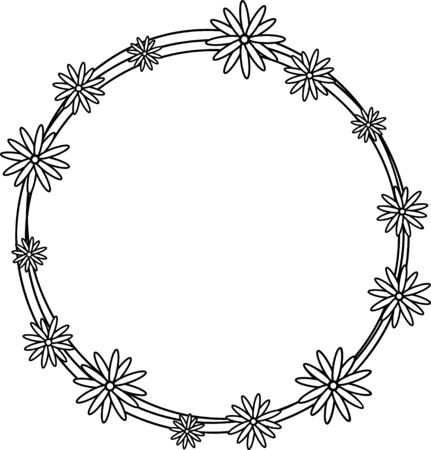 Floral circle wreath, Flowers frame for wedding invitation, birthday card