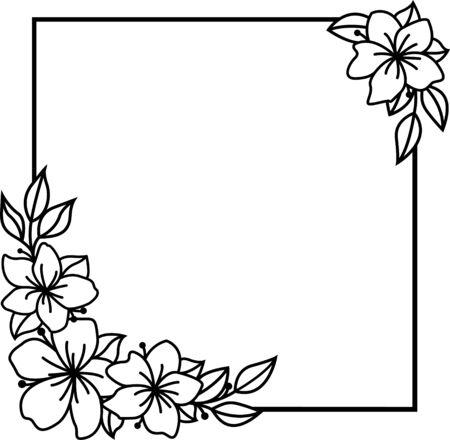 Floral wreath, Monogram square flowers frame for wedding invitation, birthday card