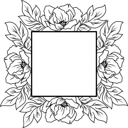 Floral wreath, Flowers frame for wedding invitation, birthday card
