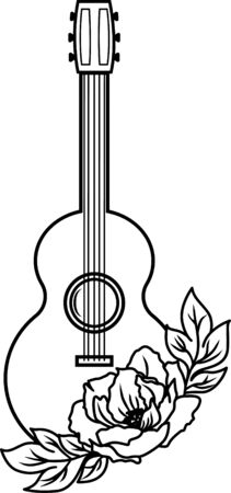 Guitar with floral. Flowers silhouette. Music clip art