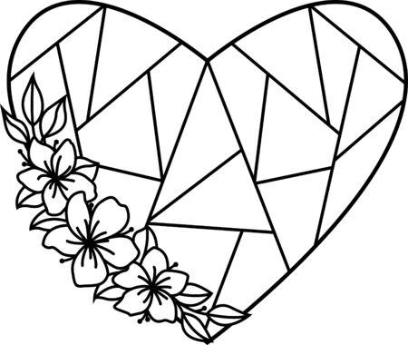 Heart with flowers. Monogram wedding design. Polygonal shape Çizim