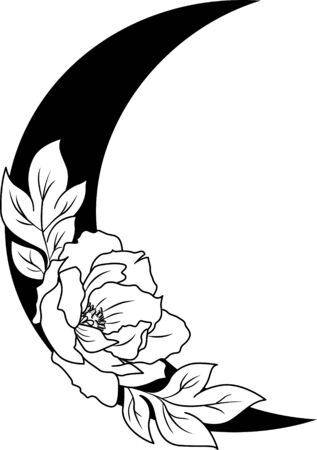 Flowers and leaves decorated crescent moon. Floral silhouette