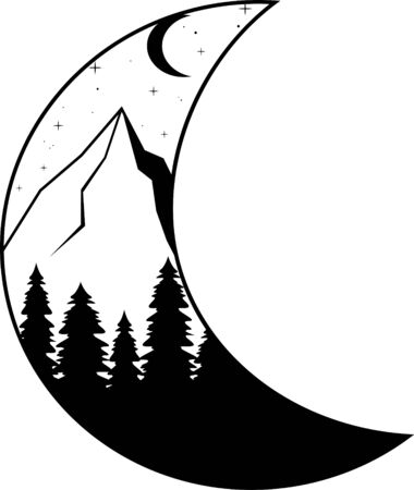 Moon and mountains, forest. Night landscape silhouette Nature