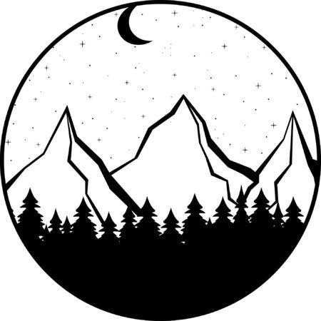 Mountains, forest snd ocean. Night landscape silhouette Illustration