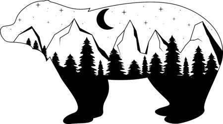 Moon and mountains, forest. Night landscape silhouette bear