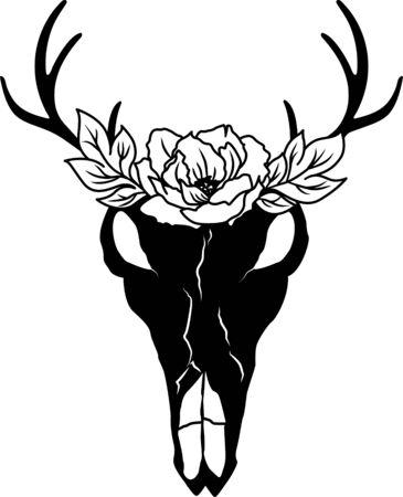 Hirschschädel und Blumen. Tiersilhouette. Blumenhorn Vektorgrafik