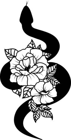 Snakes and flowers. Floral tattoo art. Reptile silhouette Illustration