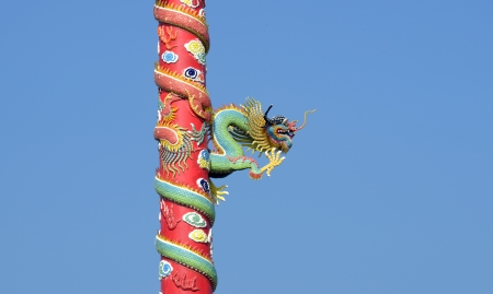 The chinese dragon on the pole photo