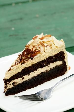 Closeup of mocha almond cake