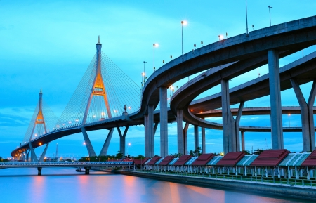 Bhumibol bridge in Thailand, also known as the industrial ring photo