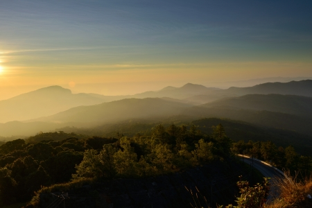 thanon: Sunrise over mountain at Doi In Thanon,THAILAND