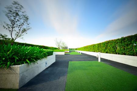 Landschap van de tuin op het dak Stockfoto