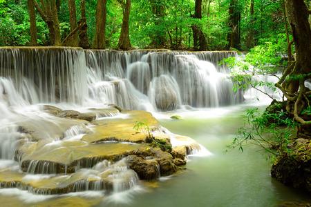 Waterfall in tropical deep forest at Hua Maekhamin photo