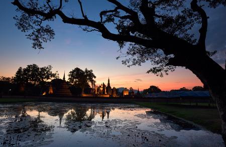 Silhouette of Sukhothai Historical Park Reklamní fotografie