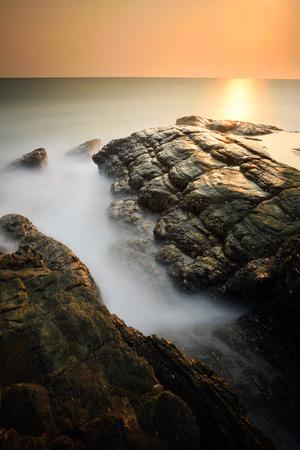 Minimalist misty seascape with long exposure Reklamní fotografie