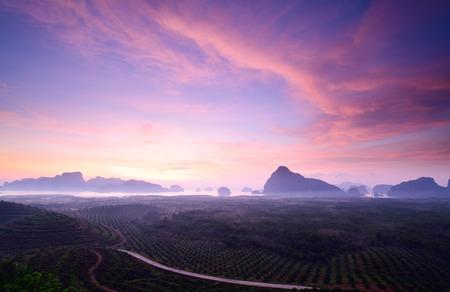 Mountain at twilight at Sametnangshe, Phang Nga, Thailand