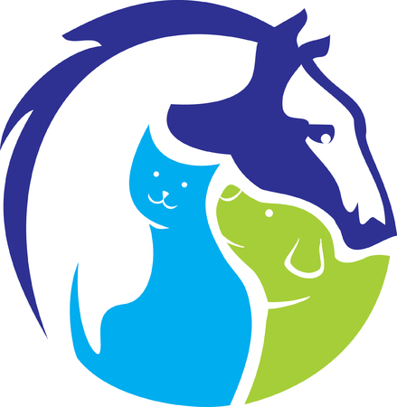 horse cat dog logo Stock Illustratie