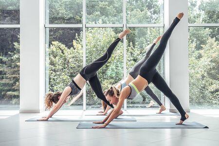 three young woman practicing yoga. Three legged dog pose.