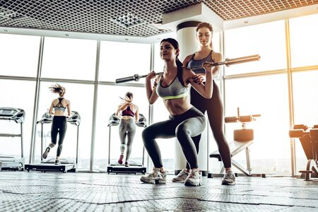 Fitness, sport, powerlifting and people concept - sporty woman exercising with barbell in gym.